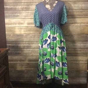 ANTHROPOLOGIE Postage Stamp purple green dress S